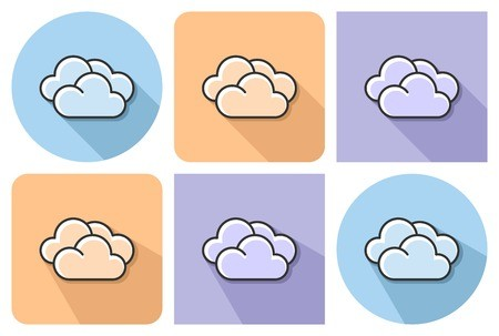 Outlined icon of clouds. Cloudy clipart long cloud