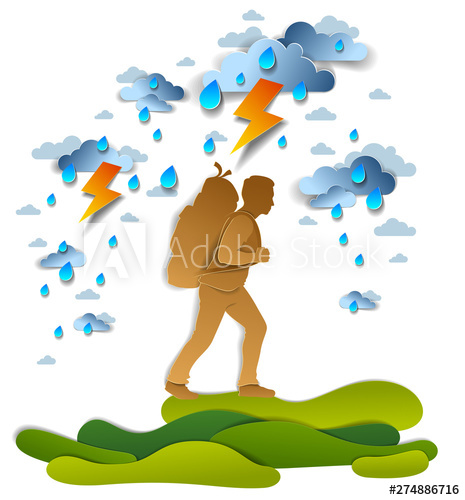 Active hiking storm with. Cloudy clipart man in rain