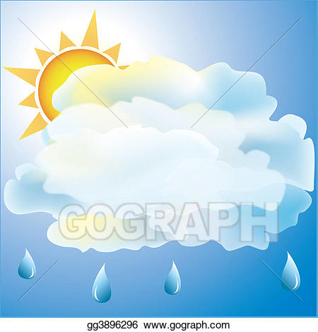 Cloudy clipart man in rain. Stock illustration mostly with