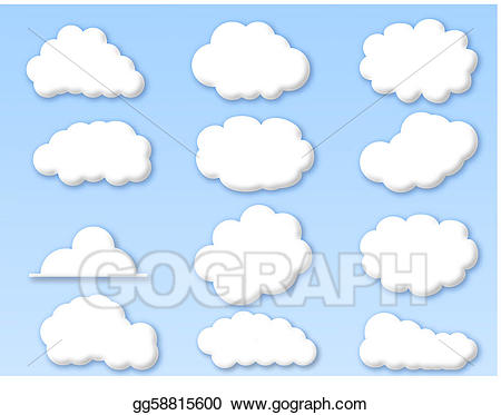 Vector art clouds on. Cloudy clipart many cloud