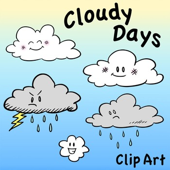Characters clip art days. Cloudy clipart many cloud