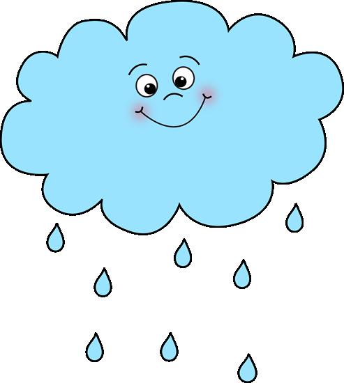 Nuage de pluie joyeux. Cloudy clipart nuages