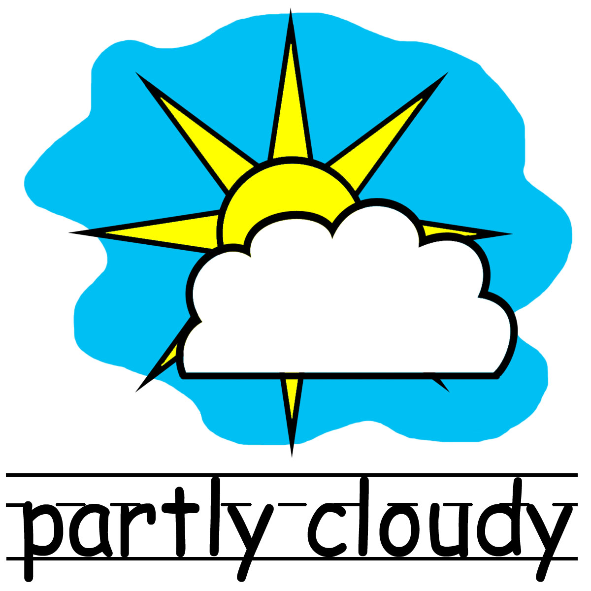 Cloudy clipart partly cloudy. Black and white panda