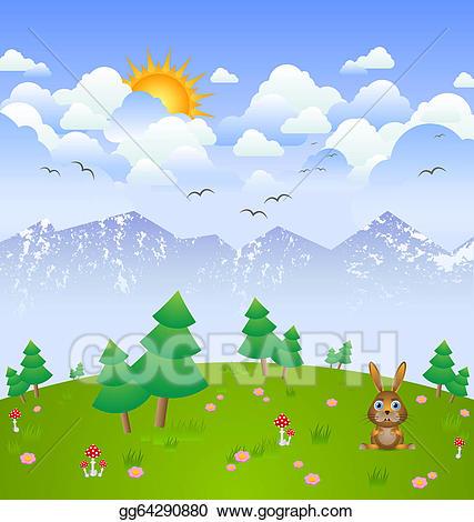 Cloudy clipart season. Vector illustration day landscape