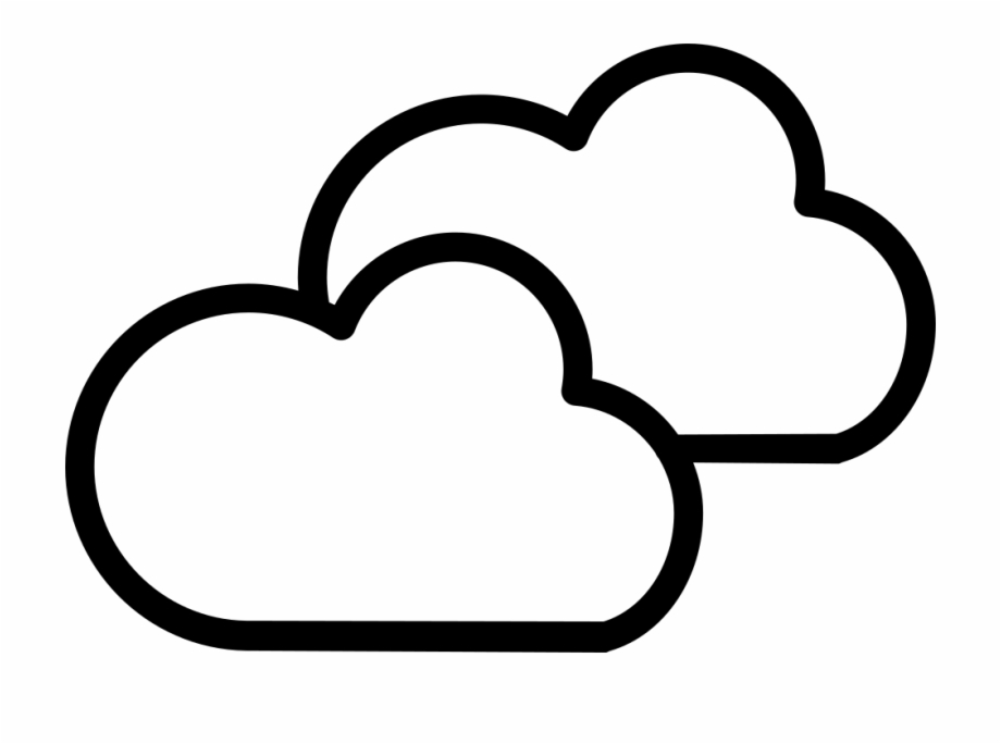 Cloudy clipart two cloud. Weather symbol outline of