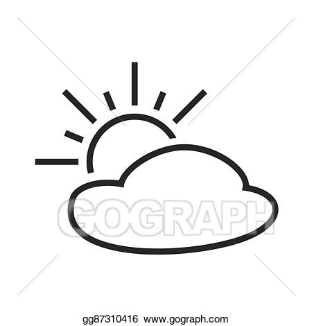 Eps vector partly cloudy. Sunny clipart climate
