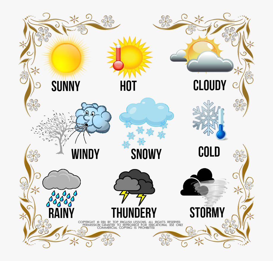 Silver and gold border. Cloudy clipart weather word