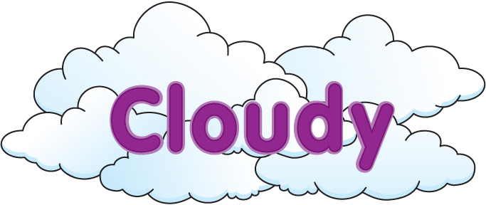 Cloudy clipart weather word. Clip art with words