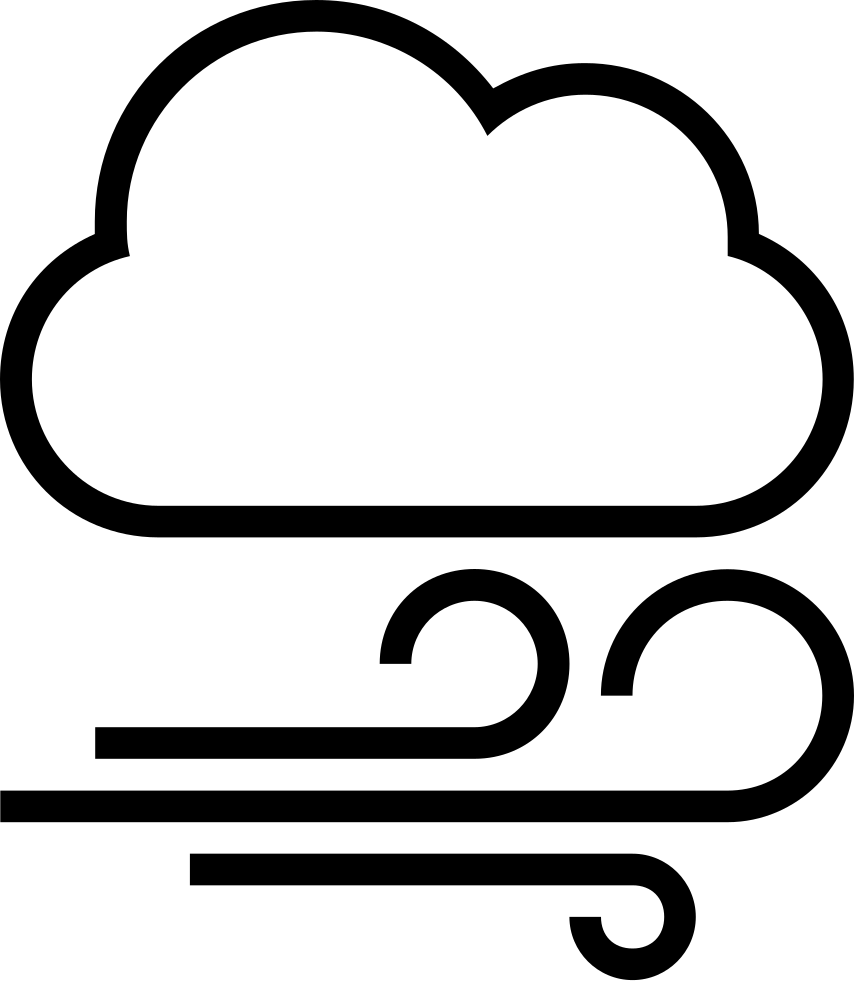 Cloudy outlined interface symbol. Windy clipart gloomy weather
