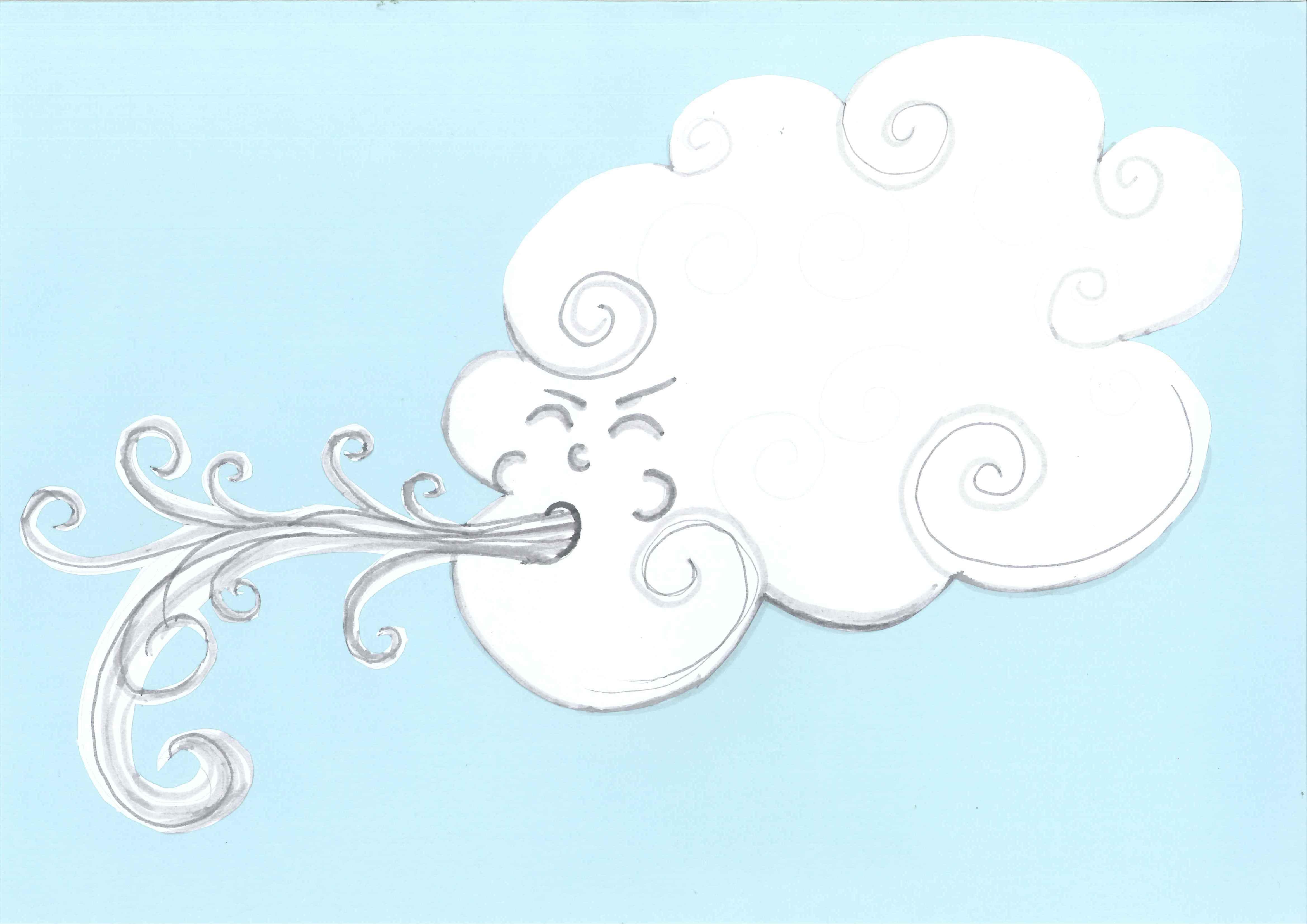 Foggy cloudy fall day. Windy clipart rainy