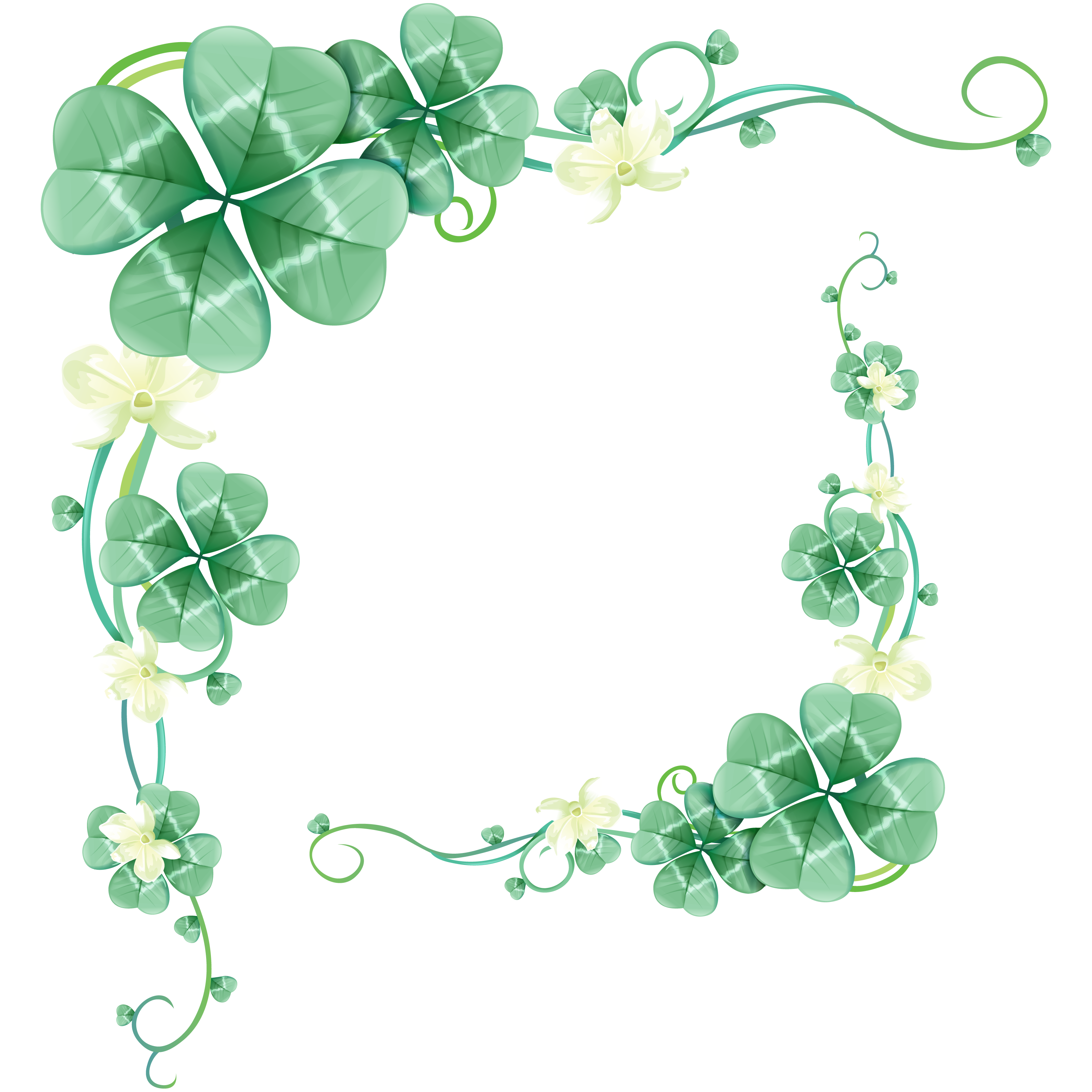 Clover clipart border. Four leaf green floral