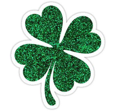 Green shamrock sticker printed. Clover clipart glitter