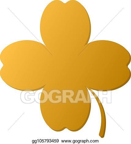 Vector art golden leaf. Clover clipart gold clover