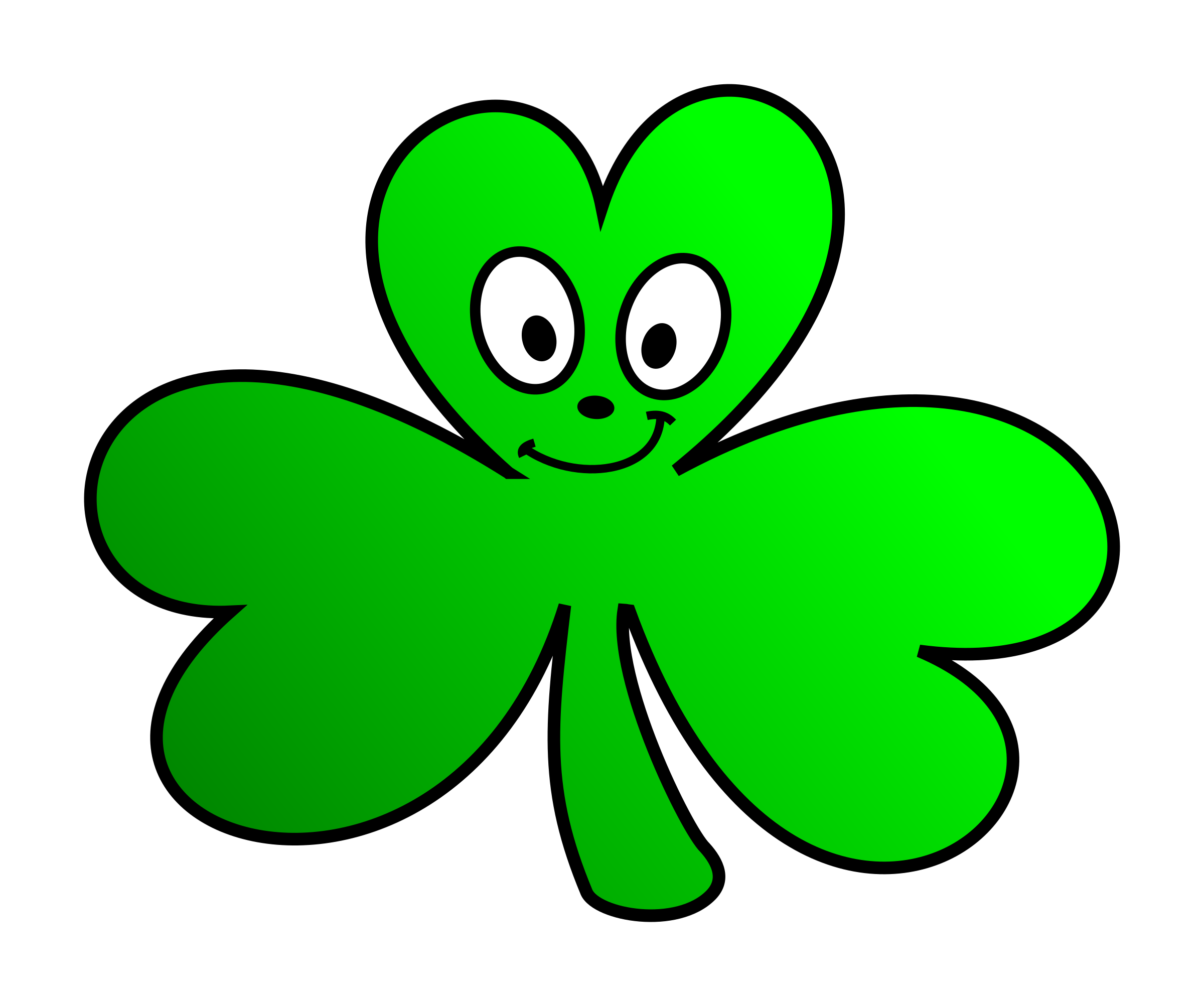 Green shamrock cartoon face. Clover clipart little
