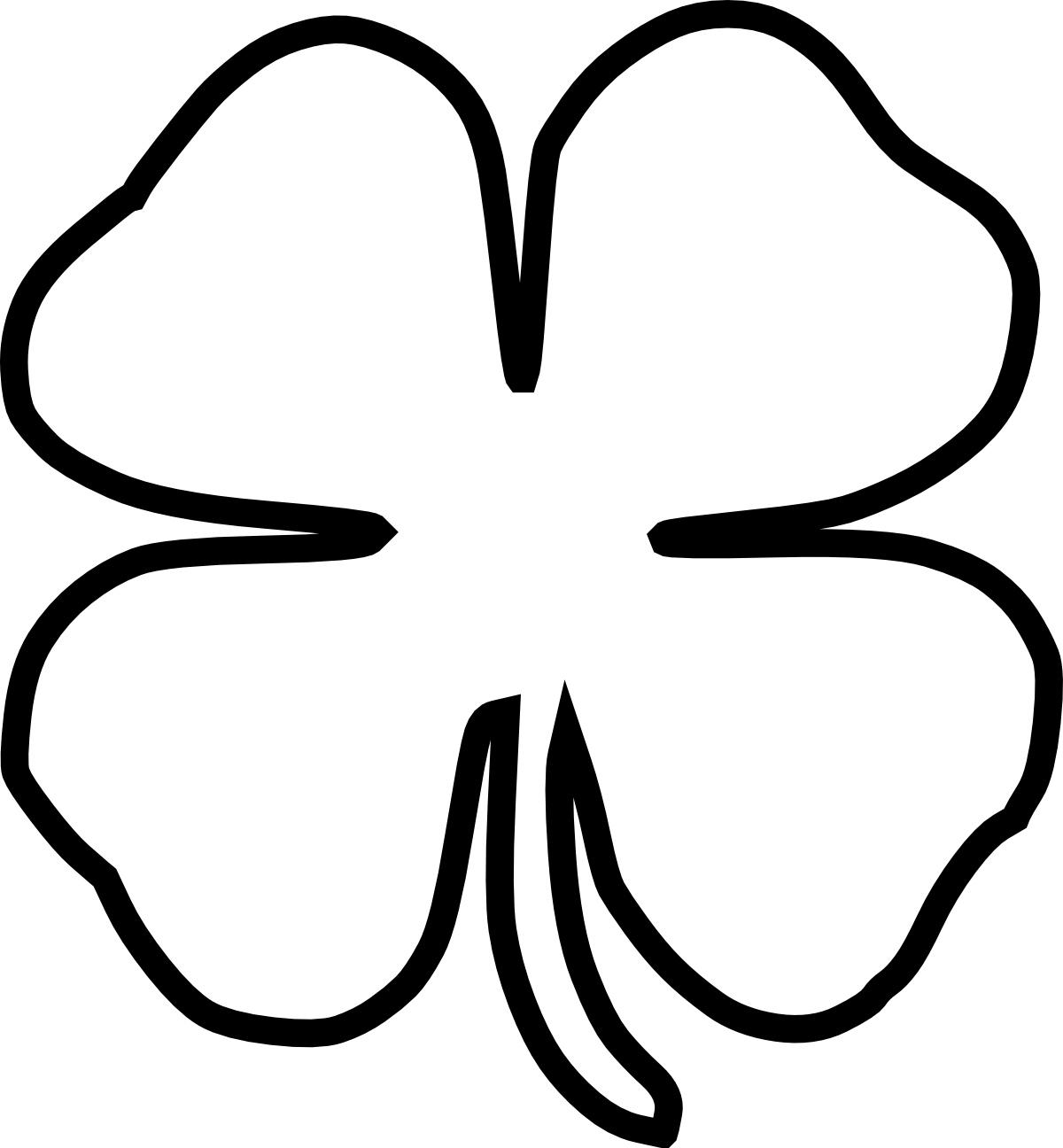 Clover clipart printable. Free four leaf outline