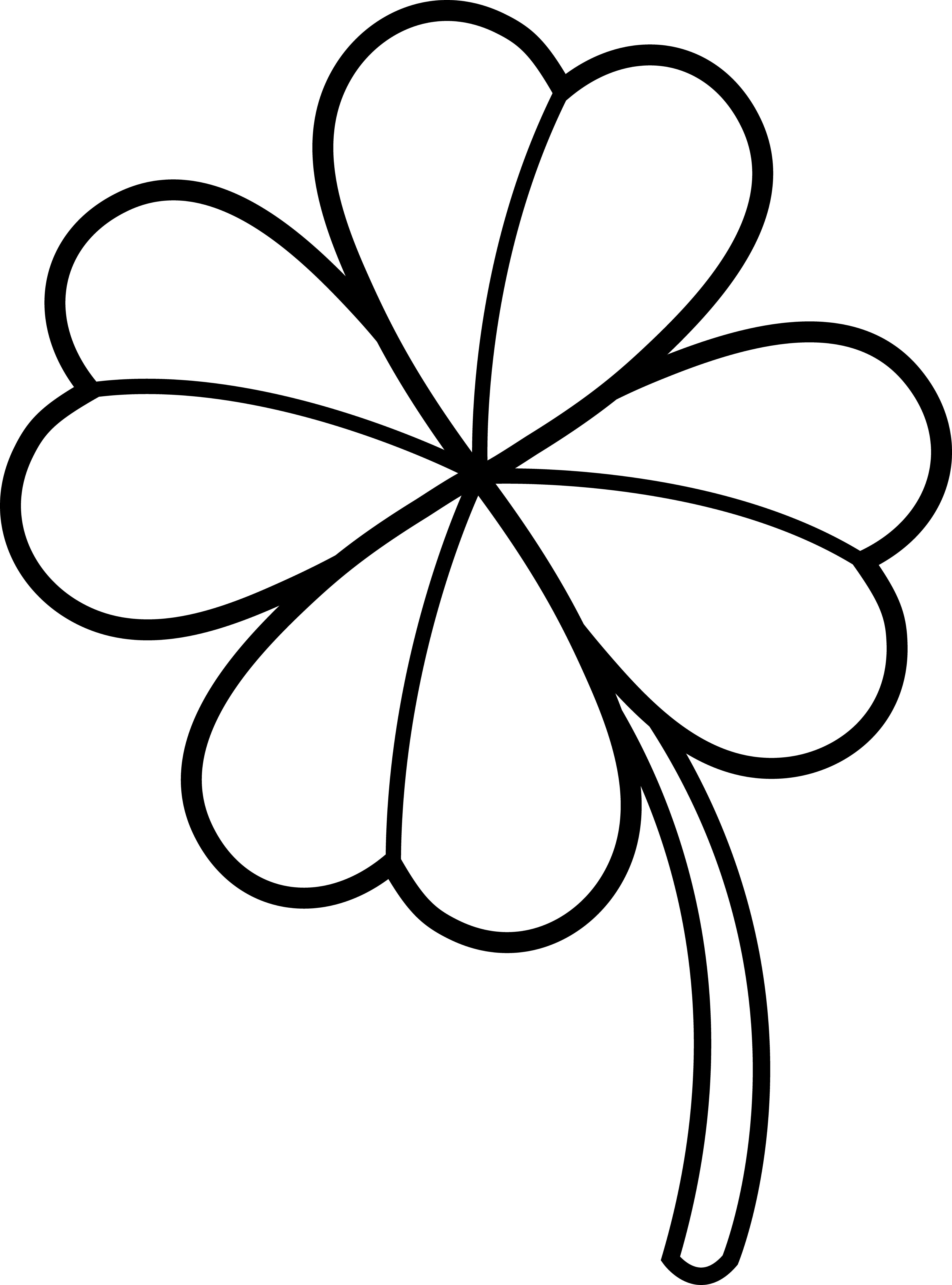 Colorable four leaf free. Clover clipart simple