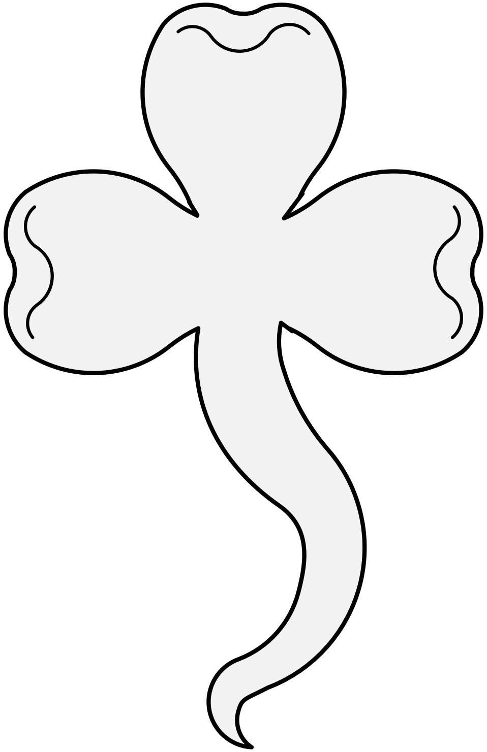 Shamrock heraldic art charge. Clover clipart traceable