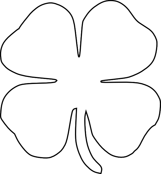 Clover clipart traceable.  images of four