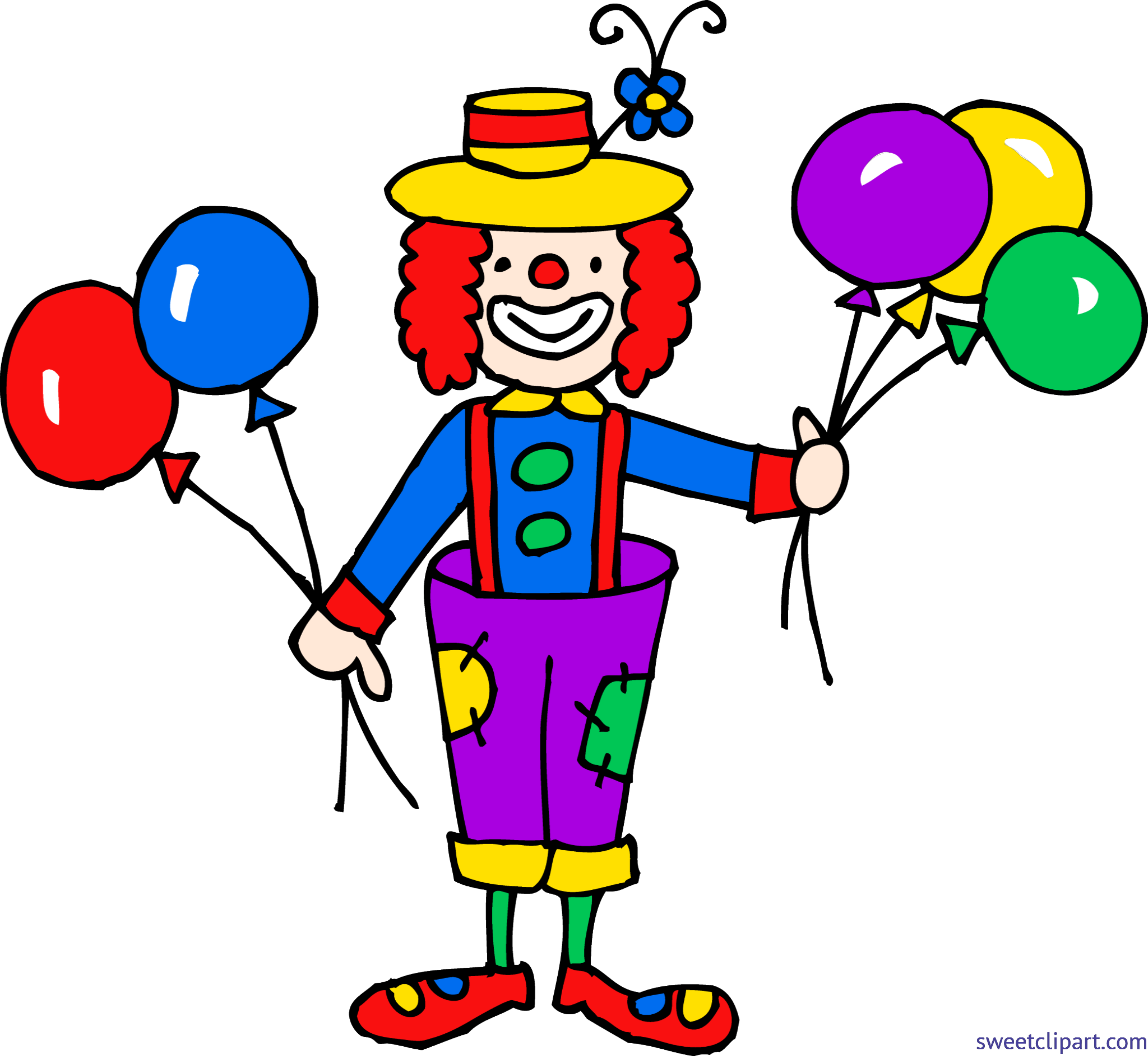 Cute with balloons clip. Clown clipart