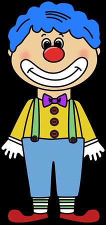 Circus clip art image. Clown clipart blue