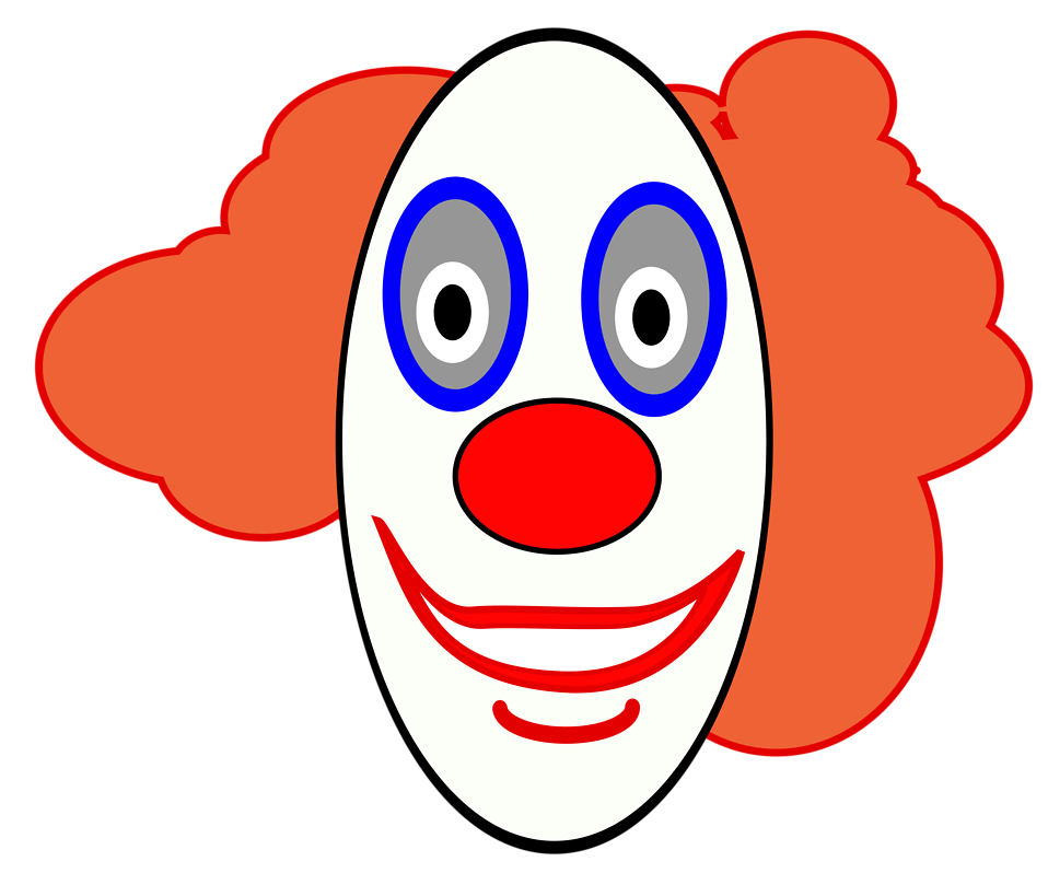 Free stock photo illustration. Clown clipart clown head