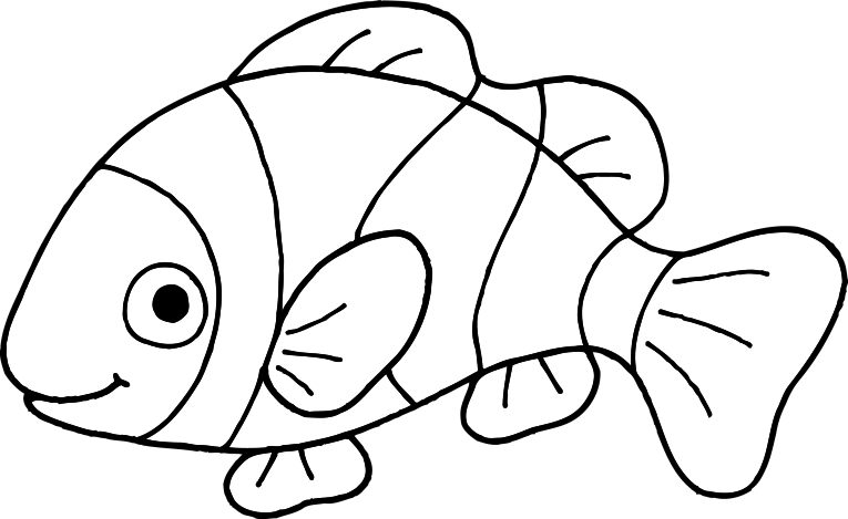 Fish printable coloring pages. Clown clipart colouring page
