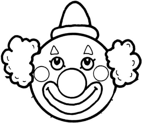 Face template printable s. Clown clipart colouring page