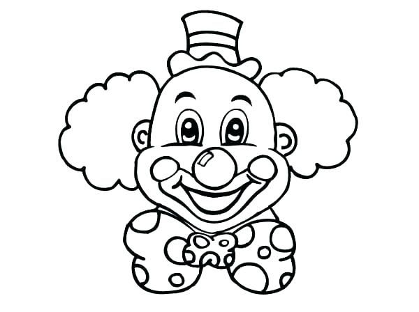 Clown clipart colouring page. Face coloring clowns pages