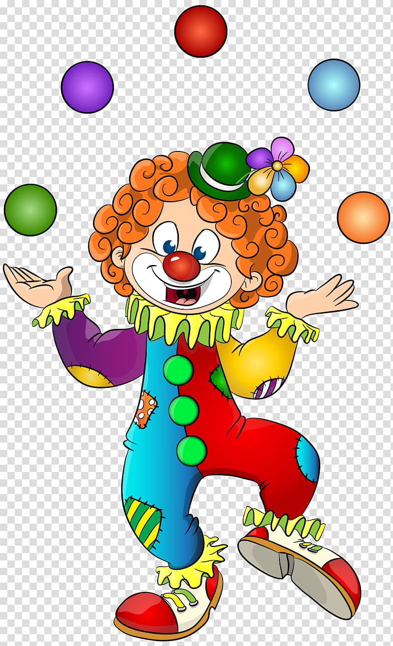 Clown clipart comic. Joggling circus transparent background