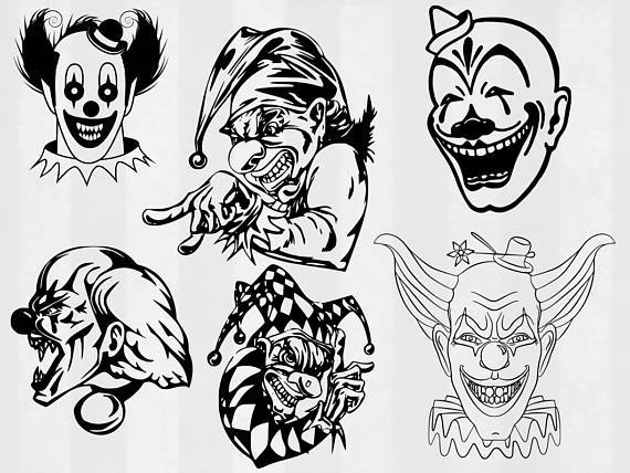Clown clipart evil clown. Scary svg dxf png