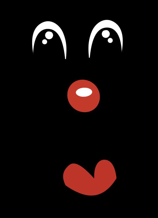 Face line art medium. Clown clipart eye