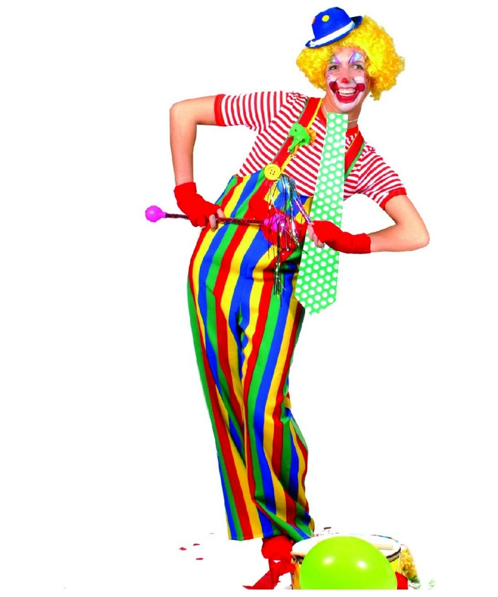 Clown clipart female clown. Striped overalls adult costume