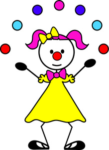 Cartoon image juggling balls. Clown clipart female clown