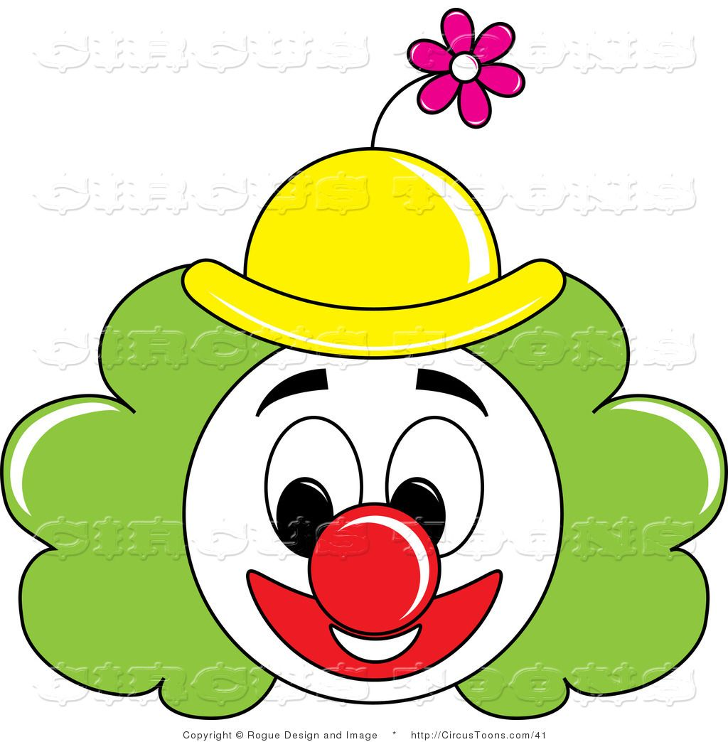 Circus of a grinning. Clown clipart green