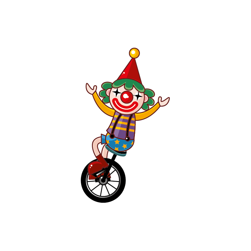 Sticker cirque sur color. Clown clipart monocycle