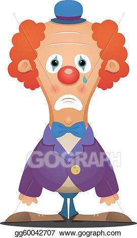 Vector art drawing gg. Clown clipart sad clown