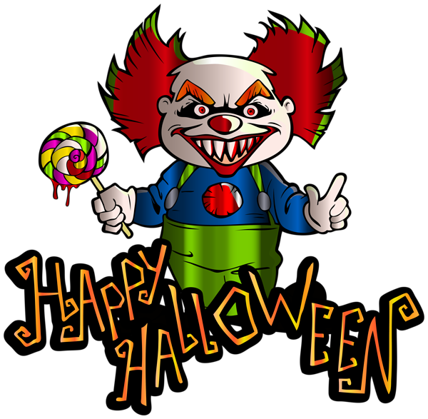 Happy halloween with png. Clown clipart scary witch