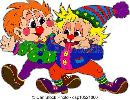 Clown clipart two. Vector of clowns illustration