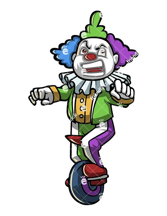 Clown clipart unicycle. Grumpy on vintage old