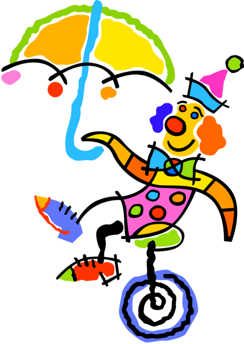 Clown clipart unicycle. Circus rides vector image