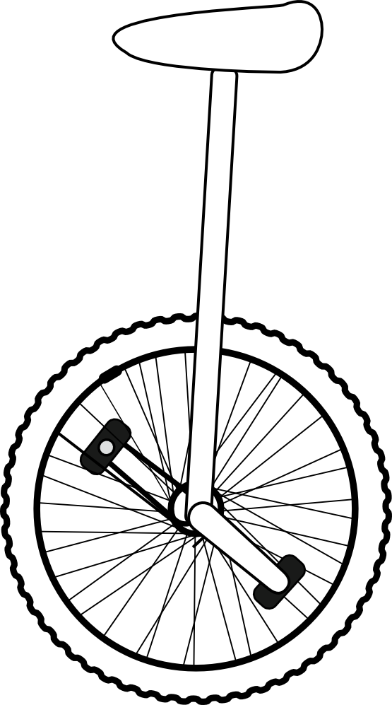 Coloring page riding a. Clown clipart unicycle