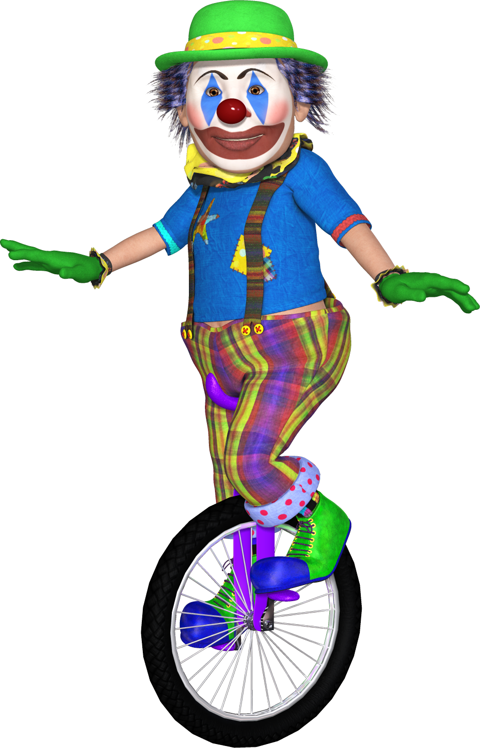 Poser page . Clown clipart unicycle