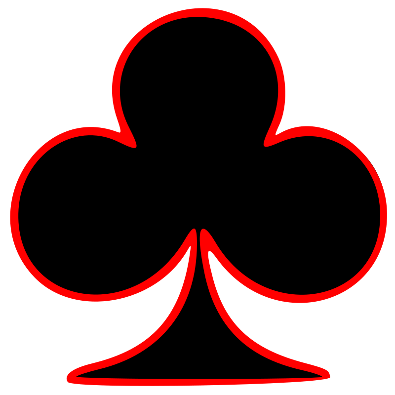 Club clipart. Outlined playing card symbol
