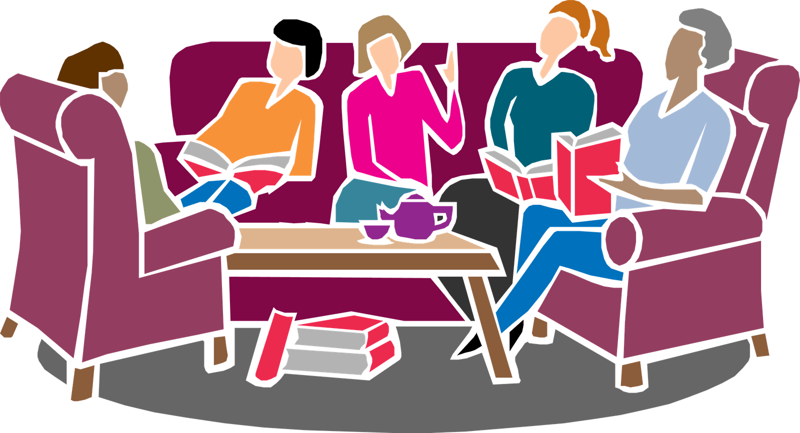 Comedy drama reading group. Furniture clipart book table
