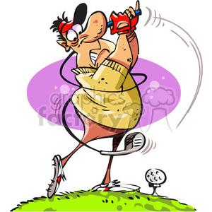 Golfer swinging his royalty. Club clipart cartoon