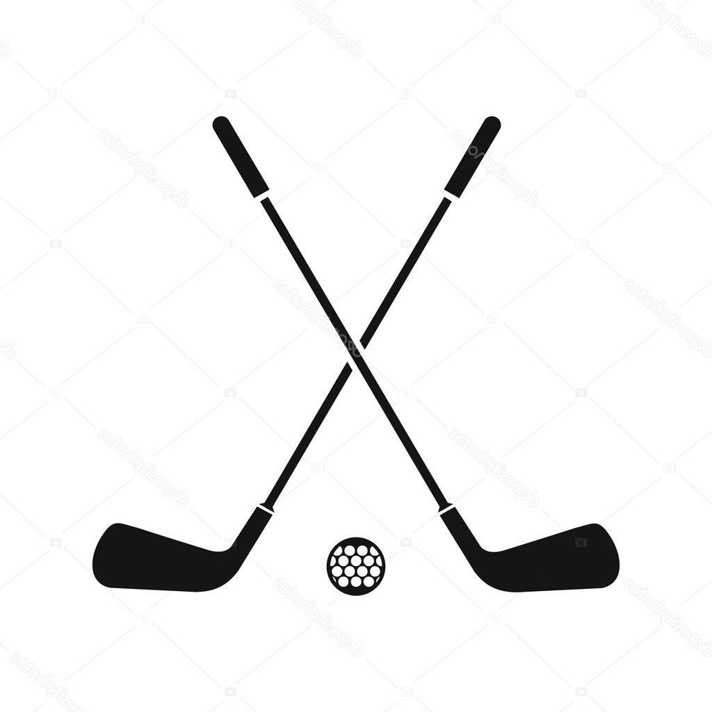 Golf clipart crossed golf club. Top silhouette drawing free