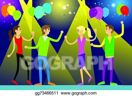 Eps vector people in. Club clipart dance club