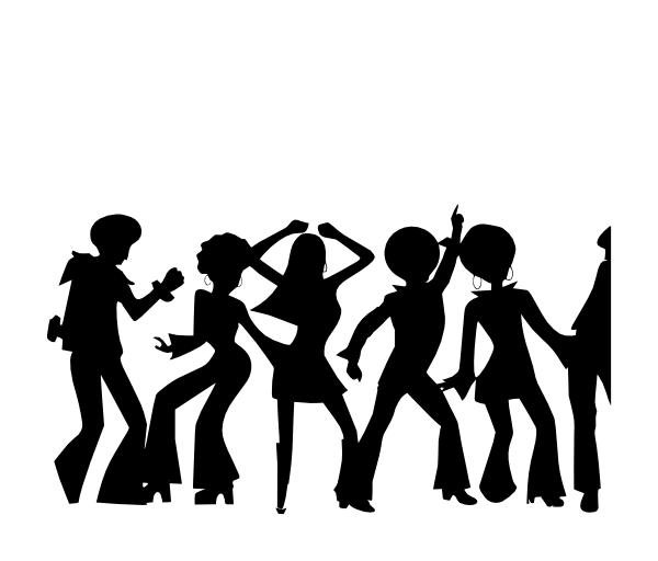 Disco dancer silhouette at. Retro clipart dance