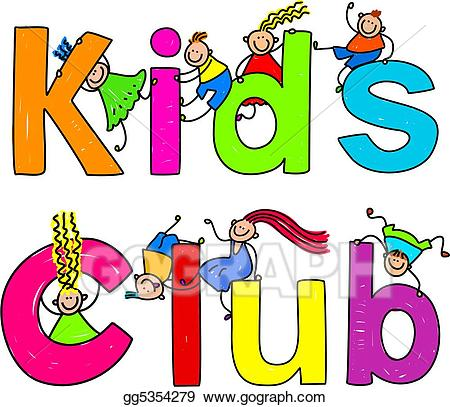 Stock illustrations kids gg. Words clipart club