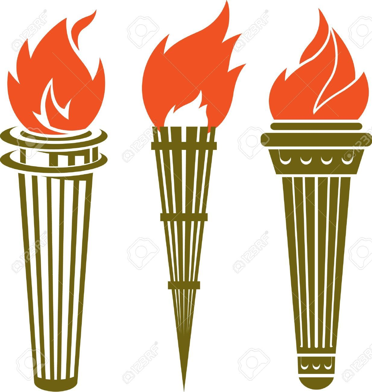 Stock vector illustration and. Torch clipart golden